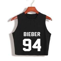 2017 Harajuku Fashion Justin Bieber Women tank top black white tanktops Bieber 94 letter print Tumblr camisoles Sexy crop Tops