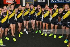 Tigers players sing the club song after winning during the round three AFL match between the Richmond Tigers and the West Coast Eagles at Melbourne Cricket Ground on April 2017 in Melbourne, Australia. Richmond Afl, West Coast Eagles, Melbourne Australia, Tigers, Cricket, Jeep, Singing, Basketball Court