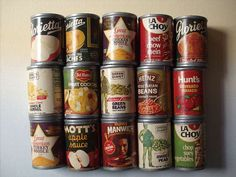 Vintage Pretend Play Food - Fifteen Half Size Kitchen Pantry Food Cans - Vinyl Plastic with Paper Labels
