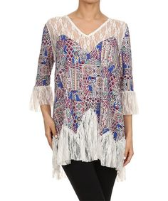 Love this Royal Blue & White Lace V-Neck Top on #zulily! #zulilyfinds