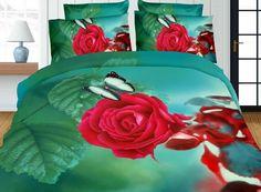Super modna morska pościel z różą i motylkiem