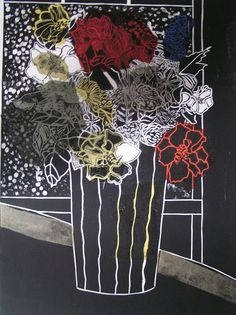 Flowers(black2) by Lyn Berwick: Lino print with chine colle