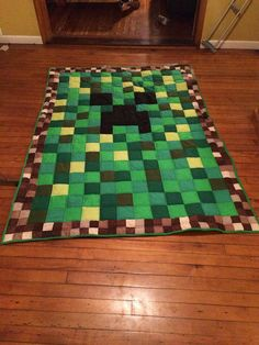 Minecraft face twin size quilt by CraftsnQuiltsnSuch on Etsy