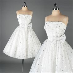 Want this recreated with straps and more of a sweetheart neckline for me! SO perfect!  vintage 1950s dress . white chiffon . silver polka dots . 3133. $325.00, via Etsy.
