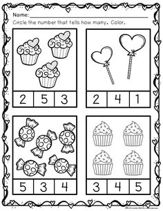 These cute Valentine themed printables include counting practice 1-10, math concepts such as same/different, taller/shorter, and patterning (AB, ABB). Printables can be used at a math center, for independent work, homework, or extra practice.
