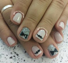Bow tie, mustache nails - maybe use black diamond instead of silver with a white bow tie Pretty Nail Designs, Pretty Nail Art, Nail Art Designs, Pedicure Ideas, Nail Ideas, Mani Pedi, Manicure And Pedicure, Bow Tie Nails, Mustache Nails