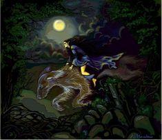 But Lúthien heard his song, and she sang in answer, as she came through the woods unlooked for. For Huan, consenting once more to be her steed, had borne her swiftly hard upon Beren's trail.  Long he had pondered in his heart what counsel he could devise for the lightning of the peril of these two whom he loved. ~ The Silmarillion, Chapter 19 (Luthien riding on Huan by Meraclitus, deviantART)