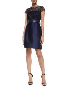 Short-Sleeve Lace Illusion Beaded-Waist Dress by Kay Unger New York at Neiman Marcus.