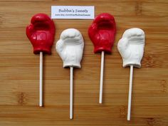 BOXING GLOVE Chocolate Pops 12  BOXING Party by BubbasSweets