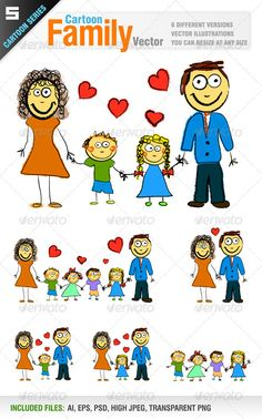 Happy Family  #GraphicRiver         Vector set of cartoon style happy family.    Father, mother, daughter, son  Father, mother, daughter  Father, mother, son  Big family (with 4 children)  Father, mother  Children   Ai, eps, psd, high jpeg and transparent png files included in the zip file.     Created: 13August12 GraphicsFilesIncluded: PhotoshopPSD #TransparentPNG #JPGImage #VectorEPS #AIIllustrator Layered: Yes MinimumAdobeCSVersion: CS Tags: adult #boy #brother #cartoon #child #couple…