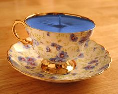 Teacup Candle Rosina China Blue Pansy with gold by pinkfence