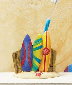 Tropical Toothbrush Holder At The Beach Sun & Fun Bathrrom Decor Surfboard Decor
