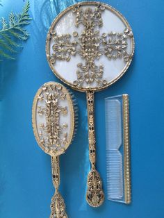 Vintage Apollo Studio Ormolu Vanity Set Gold Filigree Mirror-Brush-Comb