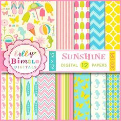 Sunshine Digital papers for scrapbooking, cards, craft and design
