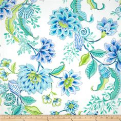Waverly Diver's Paradise Bliss $14.98/y Contents 100% Cotton Fabric Weight Medium Weight Horizontal Repeat 27.5 Vertical Repeat 27 Width 54'' Manufacturer Waverly Collection Waverly Paradise