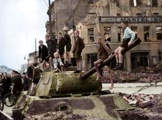German kids playing on a panther hull Berlin 1945.
