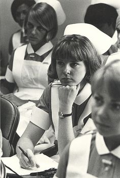 Nursing students from the Hospital of the University of Pennsylvania in class, sometime in the mid-1960's.