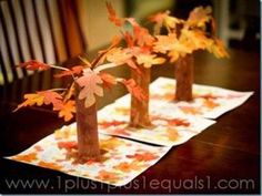 Easy fall tree craft using paper towel tubes and dollar store leaves {or leaves … - DIY Ideen Fall Crafts For Kids, Family Crafts, Craft Activities For Kids, Preschool Crafts, Tree Crafts, Decor Crafts, Easy Crafts, Diy And Crafts, Paper Crafts