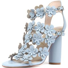 HAEL & JAX OSTRICH SKY LEATHER (565 PEN) ❤ liked on Polyvore featuring shoes, sandals, embellished leather sandals, block heel shoes, ostrich leather shoes, block heel sandals and summer shoes
