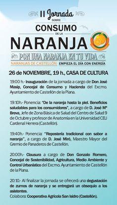 II Jornada sobre consumo de la naranja. Mañana, a las 19h en la Casa de Cultura. Home, Orange, Culture, Activities