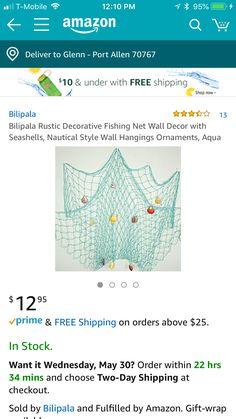 Summer Mantle Decor, Nautical Fashion, Hanging Ornaments, Sea Shells, Aqua, Wall Decor, Rustic, Wall Hanging Decor, Country Primitive