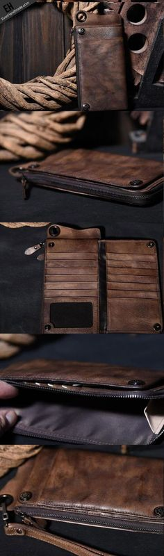 e867a1aea15c7 Leather biker trucker wallet leather chain men Brown Coffee long wallet
