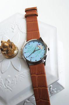 Turquoise Blue Tit leather watch by MeganAshwell on Etsy