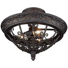 "French Scroll 16 1/2"" Wide Rubbed Bronze Ceiling Light - #1H738   Lamps Plus Ceiling Light Design, Semi Flush Ceiling Lights, Flush Mount Lighting, Rustic Pendant Lighting, Elegant Chandeliers, Farmhouse Lighting, Rustic Farmhouse, Led, Bronze Finish"