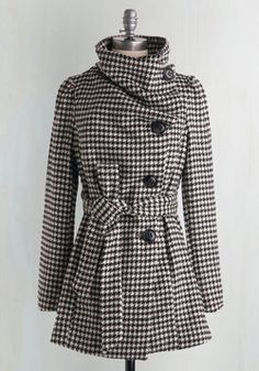 Carefully Chosen Coat in Houndstooth. You are fastidious about what outerwear makes it into your coat collection - and when you slip on this soft, cozy houndstooth coat, you know that this will be a piece that earns its place. #black #modcloth