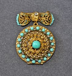VTG Signed Miriam Haskell Bow Pin/Brooch w/Drop Medallion/Locket Gold/Turquoise #MiriamHaskell