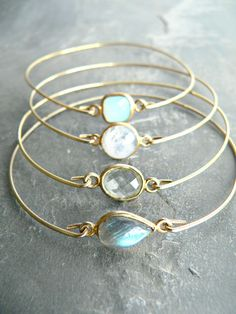 Precious Gemstone Gold Bangle Bracelet Set by KattilacGems on Etsy