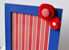 Embellished Picture Frame - Blue with Embellished Red Felt Flowers on Etsy, $10.00