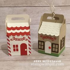 Happy to finally share this Charming Cottage Die Set with you! Christmas Paper Crafts, Stampin Up Christmas, Handmade Christmas, Christmas Gingerbread, Christmas Candy, Paper Flowers For Kids, New Home Cards, Handmade Birthday Cards, Handmade Cards