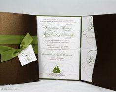Modern Swirls Wedding Invitation  Grunge  Swirly  Block