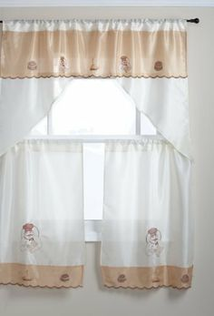 Regal Home Chef Embroidered 3-Piece Window Set, 54-Inch by 36-Inch Swag and Tiers, Beige/Gold by Regal Home Collections. $11.99. Machine wash cold; gentle cycle; do not bleach; tumble dry low; iron on lowest setting as needed. Fits curtain rod up to 1-1/2-inch. Set includes 2 27-inch by 36-inch tier curtains and 1 54-inch by 12-inch window valance. 100-Percent polyester. Complete your window with this tier and swag set. Beautifully embroidered with Chef and his ...