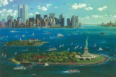 New York Gateway (2013) Alexander Chen http://www.parkwestgallery.com/artwork-detail?ArtID=272630 #art #alexanderchen #parkwestgallery #nyc #statueofliberty