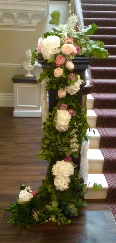 Stunning staircase dressed with gorgeous foliage, peonies, hydrangea and roses. Civil Ceremony, Bridal Flowers, Hydrangea, Floral Wedding, Peonies, Floral Design, Floral Wreath, Roses, Wreaths