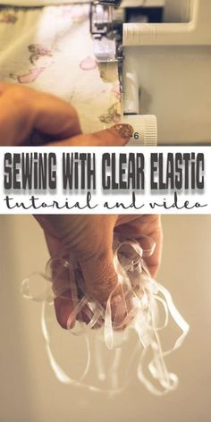 great tips for sewing clear elastic with your serger. A simple and easy sewing tutorial for sewing clear elastic into your garments with ease. Sewing Basics, Sewing Hacks, Sewing Tutorials, Sewing Ideas, Sewing Patterns, Apron Patterns, Dress Patterns, Serger Projects, Sewing Projects For Beginners