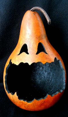 Halloween Pumpkin JackOLantern Gourd. I like this a lot, could be used year to year since gourds are much sturdier and already dried.