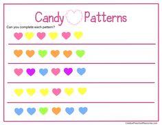 Free Valentine Math Printables Preschool-K ... have the kiddos make patterns with conversation hearts!