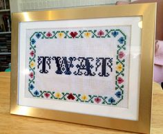 Twat Finished Framed Subversive Cross Stitch Art by stephXstitch, $65.00