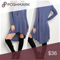 So cute! round neck hi lo jersey knit tunic dress Beautiful blue color with rounded neckline and rounded hi lo hem/ more photos today Dresses High Low