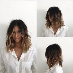 This Undone Voluminous Wavy Lob with Brunette Balayage and Soft Layers is a great cut for someone seeking versatility. This lob can be styled sleek and straight, with textured waves or curls, or with a simple blowout for body and movement. Ombre Hair Long Bob, Wavy Bob Long, Long Bobs, Short Hair Waves, Curly Hair Long Bob, Balayage On Short Hair, Messy Wavy Hair, Wavy Curls, Long To Short Hair