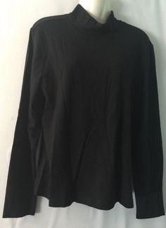 Talbots Womens Sz XL Solid Black Turtleneck Top Stretch Casual Long Sleeve | eBay