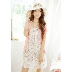 Sweet Tiny Floral Print Faux Twinset Splice Summer Dress For Women (PINK,ONE SIZE)   Sammydress.com