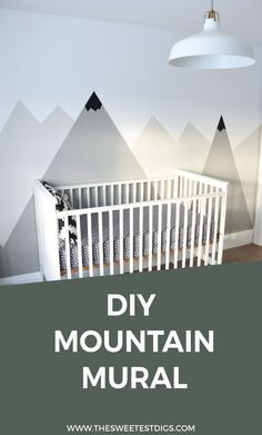 Decorating a kids room? You need to try this DIY nursery mountain mural. Super easy to do and has a modern, scandi design. Click through for the tutorial!