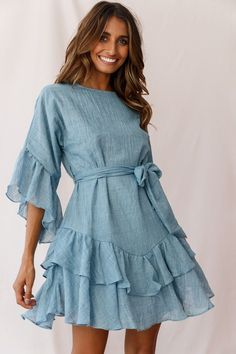 Wilshire Tiered Ruffle Hem Dress Denim Blue Search results for: 'ruffle' Spring Fashion 2020 Trends Spring Dresses Casual, Trendy Dresses, Fall Dresses, Women's Fashion Dresses, Casual Dresses For Women, Sexy Dresses, Cute Dresses, Dress Outfits, Dresses For Work