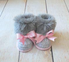 Botitas de bebé piel del faux botines muchacha por HandmadebyInese