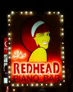 Chicago, IL The Redhead Piano Bar - hat der Poet ne Schwester in Chicago? Piano Bar Chicago, Chicago Bars, Neon Licht, My Kind Of Town, Roadside Attractions, Chicago Illinois, Neon Lighting, Best Cities, Vintage Signs
