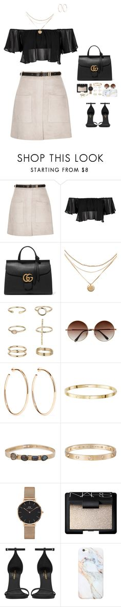 """""""Senza titolo #760"""" by feelin-q ❤ liked on Polyvore featuring River Island, Topshop, Gucci, Miss Selfridge, Jennifer Fisher, Cartier, Daniel Wellington, NARS Cosmetics, Yves Saint Laurent and Forever 21"""